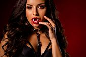 Cropped Close-up View Portrait Of Her She Nice Attractive Chic Cruel Hungry Evil Black Brunette Wavy poster