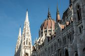View Of The Hungarian Parliament Building Or Parliament Of Budapest, A Landmark And Popular Tourist  poster