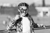 Aint It Funny. Little Girl Looking Through Funny Star Shaped Glasses On Urban Background. Funny Chil poster