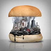 Industrial Chemicals In Food As A Public Health Hazard With 3d Illustration Elements. poster