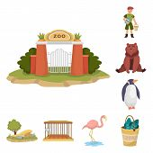 Isolated Object Of Zoo And Park Icon. Collection Of Zoo And Animal Stock Vector Illustration. poster