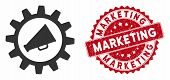 Vector Marketing Automation Icon And Rubber Round Stamp Seal With Marketing Caption. Flat Marketing  poster