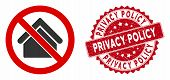 Vector No Housing Icon And Rubber Round Stamp Seal With Privacy Policy Phrase. Flat No Housing Icon  poster