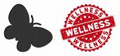 Vector Butterfly Icon And Corroded Round Stamp Seal With Wellness Caption. Flat Butterfly Icon Is Is poster
