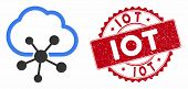Vector Cloud Network Icon And Grunge Round Stamp Seal With Iot Phrase. Flat Cloud Network Icon Is Is poster