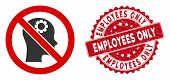 Vector No Artificial Intelligence Icon And Corroded Round Stamp Watermark With Employees Only Captio poster