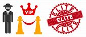Vector Vip Access Icon And Distressed Round Stamp Seal With Elite Phrase. Flat Vip Access Icon Is Is poster