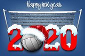 Snowy New Year Numbers 2020 And Volleyball Ball In A Christmas Hat On The Background Of The Grid. Cr poster