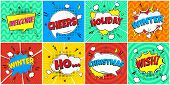 8 Comic Winter Lettering In The Speech Bubbles Comic Style Flat Design. Dynamic Pop Art Vector Illus poster