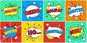 8 Comic Winter Lettering In The Speech Bubbles Comic Style Flat Design. Dynamic Pop Art Vector Illus poster