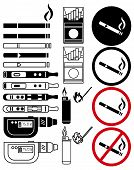 Smoking Fire Black And Color Icons Set. Cigarette, Vape, Matches Stick, Lighter, Matches, Smoking An poster