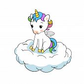 Cute Little Unicorn Sitting On Cloud Print. Baby Unicorn Isolated Vector Icon. Fantasy Horse Sticker poster