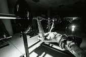 Fit Young Man Lifting Barbells Doing Workout At A Gym. Sport, Fitness, Weightlifting, Bodybuilding,  poster