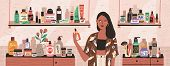 Natural Cosmetics, Eco Products Choosing In Store Flat Illustration. Female Shop Assistant, Cosmetic poster