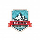 Expedition - Concept Logo Badge Design. Mountains Logo. Climbing Creative Logo. Hiking Logo. Adventu poster
