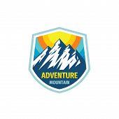 Adventure Lgoo Concept Badge Design. Mountain Logo. Climbing Creative Logo. Expedition Outdoors Logo poster