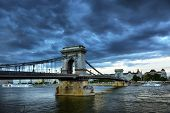 Budapest Hungary Sunset Panorama Of Budapest Hungary With The Chain Bridge And The Parliament. poster
