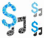 Music Price Mosaic Of Unequal Parts In Variable Sizes And Color Tones, Based On Music Price Icon. Ve poster