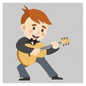Jazz Musician,man Playing Guitar With Big Smile. poster