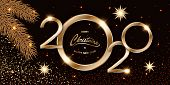 Merry Chistmas And Happy New Year 2020 Shining Luxury Xmas Dark Background With Gold Text, Confetti, poster