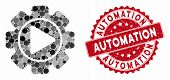 Mosaic Automation And Rubber Stamp Watermark With Automation Text. Mosaic Vector Is Formed With Auto poster