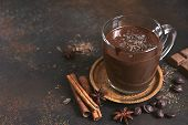 Delicious Homemade Hot Chocolate With Cinnamon. poster