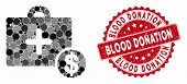 Mosaic Commercial Medicine Case And Grunge Stamp Seal With Blood Donation Caption. Mosaic Vector Is  poster