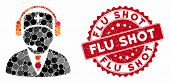 Mosaic Emergency Operator And Grunge Stamp Seal With Flu Shot Text. Mosaic Vector Is Formed With Eme poster