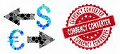Mosaic Euro Dollar Transactions And Distressed Stamp Seal With Currency Converter Phrase. Mosaic Vec poster