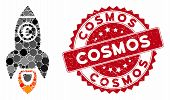 Collage Euro Rocket Launch And Corroded Stamp Seal With Cosmos Caption. Mosaic Vector Is Composed Fr poster