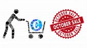 Mosaic Euro Trolley Cashout And Corroded Stamp Seal With October Sale Text. Mosaic Vector Is Formed  poster