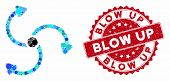 Mosaic Fan Rotation And Rubber Stamp Seal With Blow Up Phrase. Mosaic Vector Is Formed From Fan Rota poster
