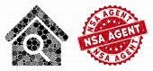 Mosaic Find Building And Distressed Stamp Seal With Nsa Agent Text. Mosaic Vector Is Composed From F poster