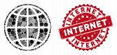Mosaic Internet And Grunge Stamp Seal With Internet Text. Mosaic Vector Is Created With Internet Ico poster