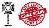 Mosaic Spotlight Rack And Corroded Stamp Watermark With Crime Scene Text. Mosaic Vector Is Designed  poster