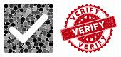 Mosaic Valid Tick And Grunge Stamp Watermark With Verify Text. Mosaic Vector Is Designed With Valid  poster