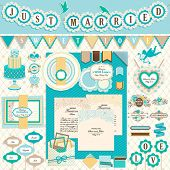 Wedding`s Day scrapbook elements. Vector illustration.