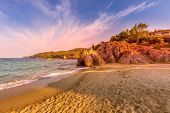 Vourvourou, Chalkidiki Or Halkidiki, Greece Summer Sunset Scenery With Turquoise Sea, Forest Green M poster