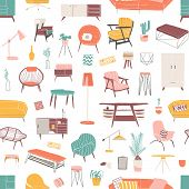 Home Furniture Hand Drawn Seamless Pattern. Contemporary Furniture Pieces. Vintage Armchair And Retr poster