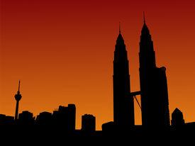 foto of petronas towers  - Kuala Lumpur skyline with Petronas Towers at sunset illustration - JPG