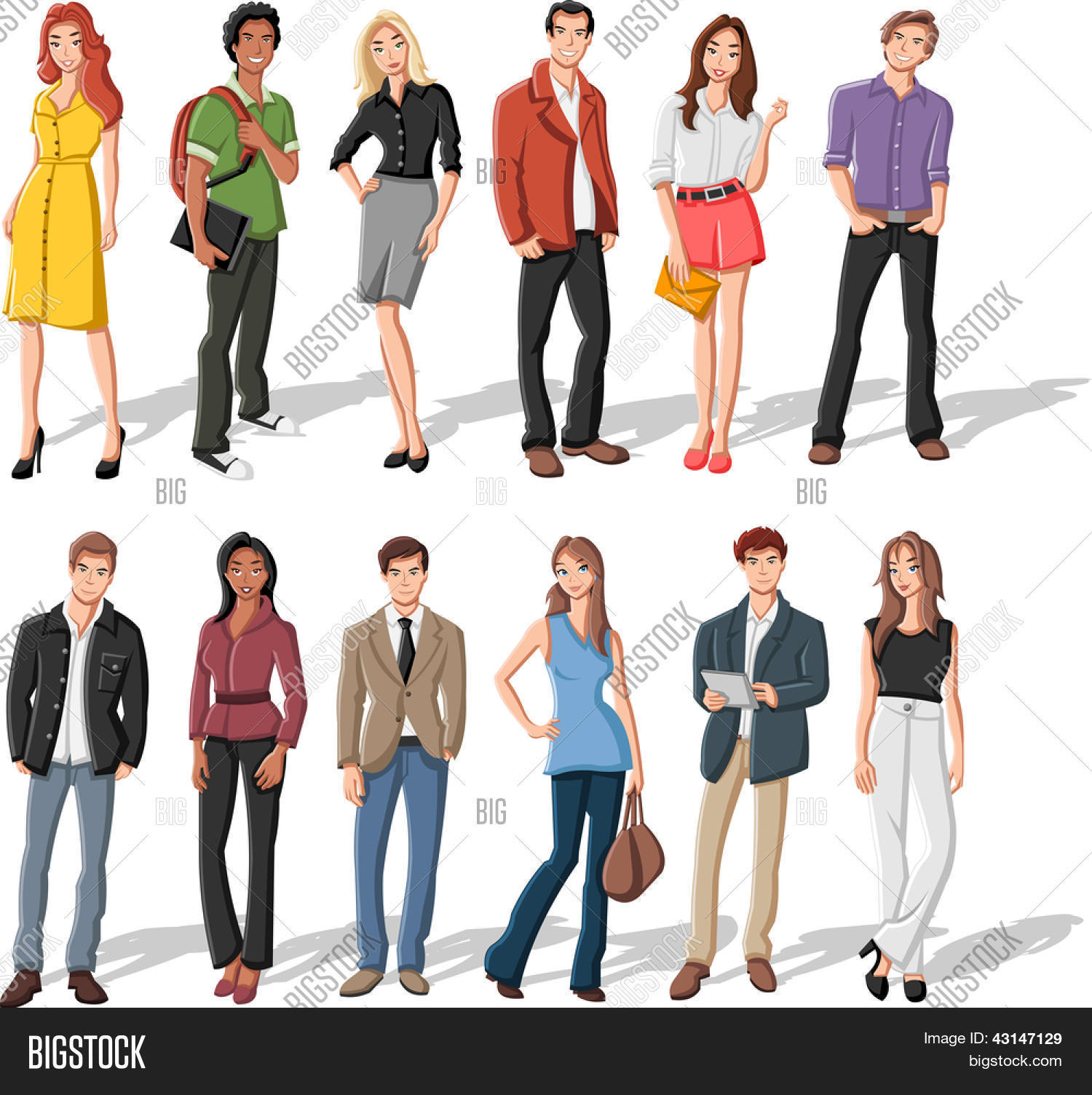 Group Of Fashion Cartoon Young People Stock Vector Stock Photos Bigstock
