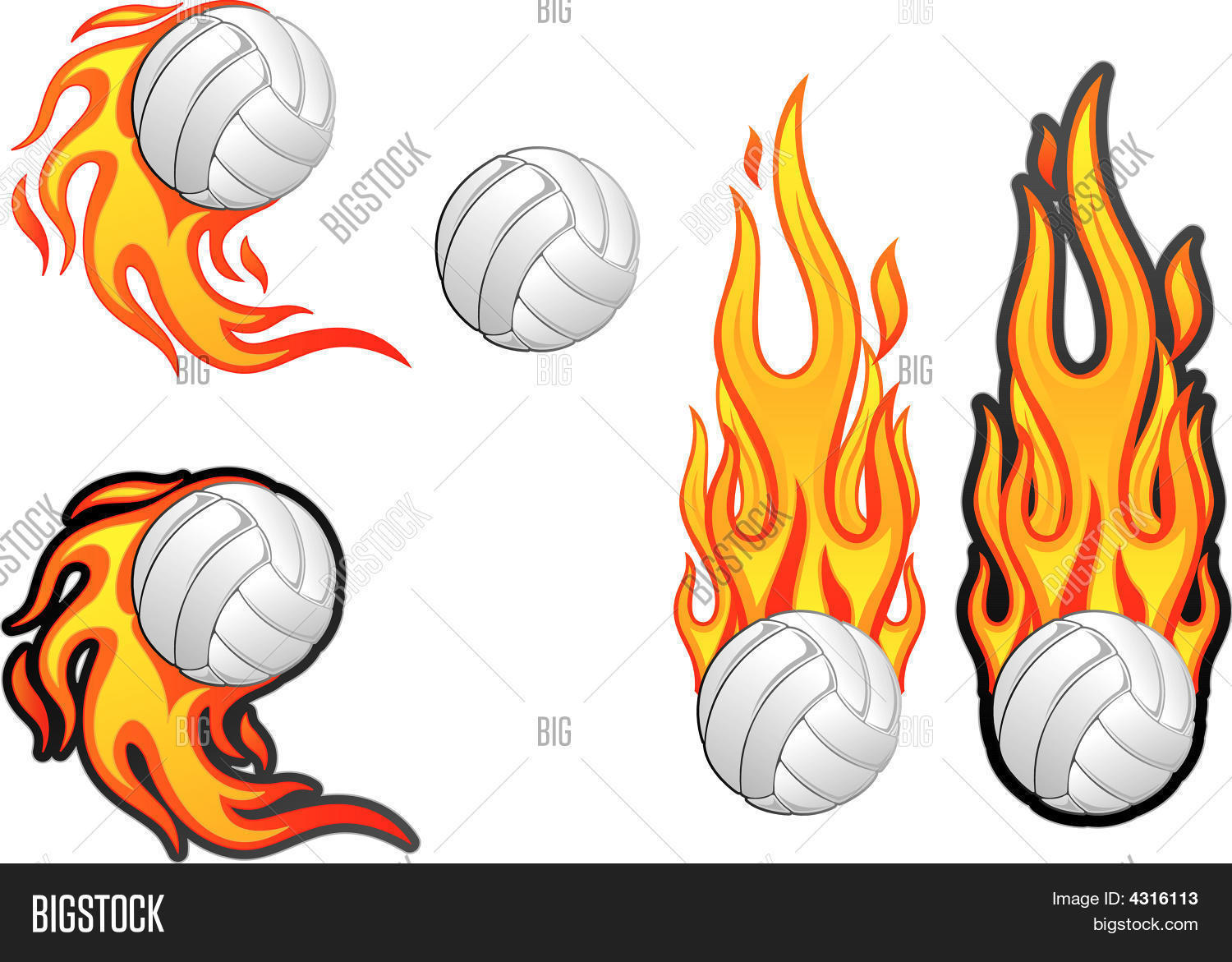 how to draw a volleyball on fire