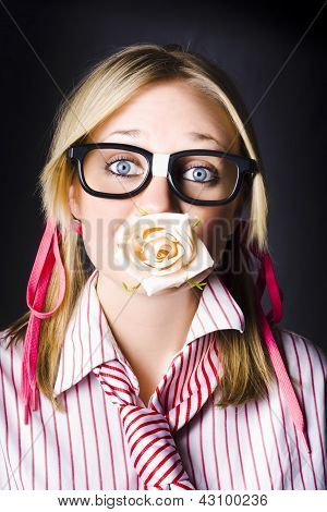Romantic Nerd Flower Girl With Expression Of Love