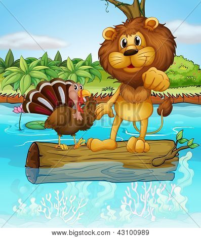 Illustration of a lion and a turkey above a floating trunk
