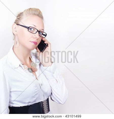 Business Woman Networking On Corporate Phone Call