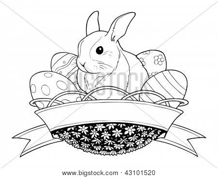 easter bunny rabbit in basket with eggs vector illustration isolated on white background. Vector Illustration.