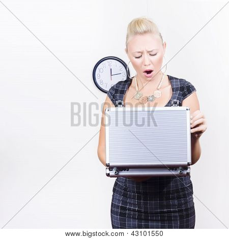 Shocked Accounting Employee Holding Open Briefcase