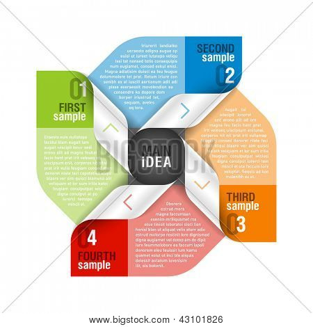 Four parts design template. Fully editable vector.