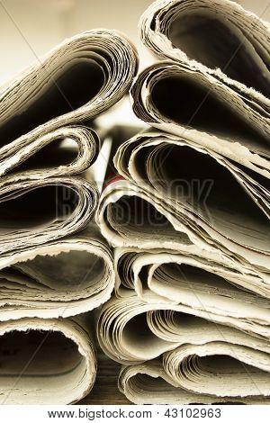 Closeup Pile Of Newspaper