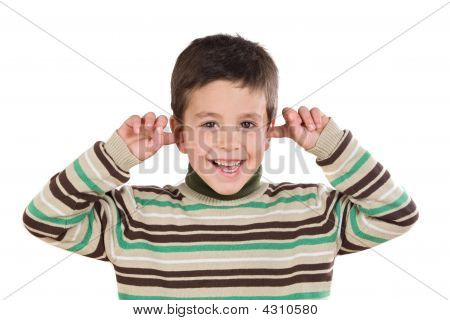 Adorable Child Stoppering His Ears